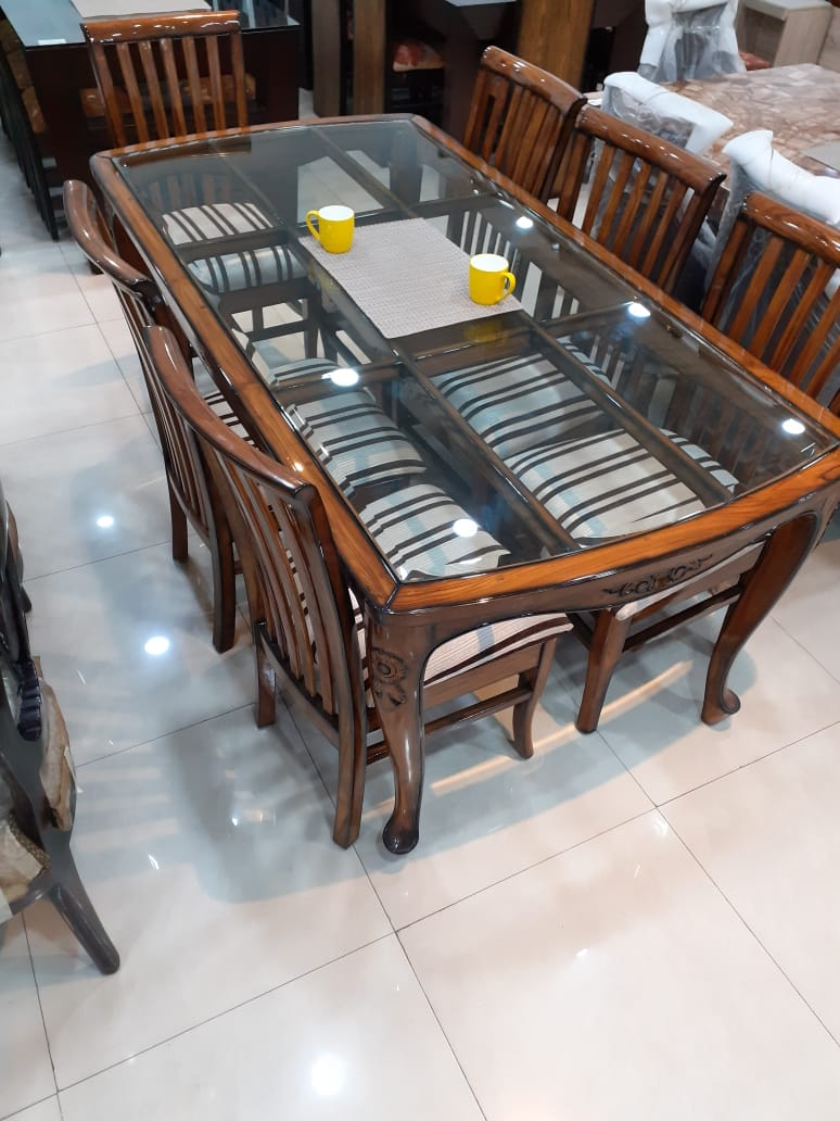 A Natural Teak Wood Dining Table With 6 Chairs Maharaja Furniture